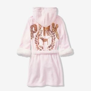 PINK Victoria's Secret Intimates & Sleepwear - M/L new VS PINK BLING COZY PLUSH SHORT hoodie ROBE